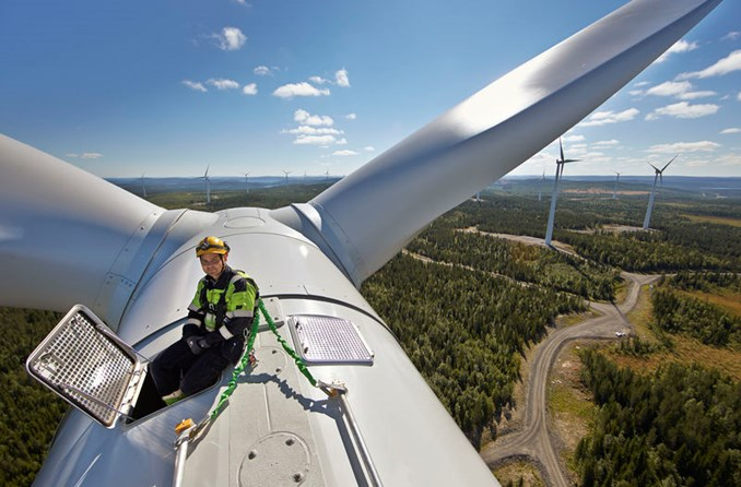 On the top of wind turbine